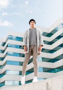 Man wearing cardigan