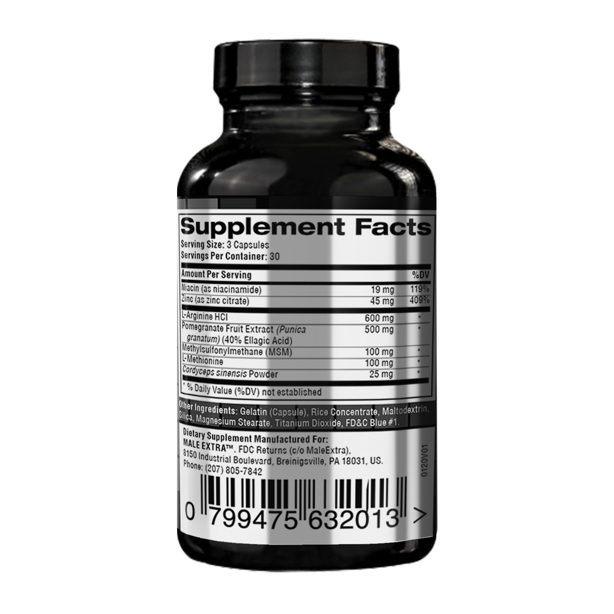 MaleExtra supplement facts photo