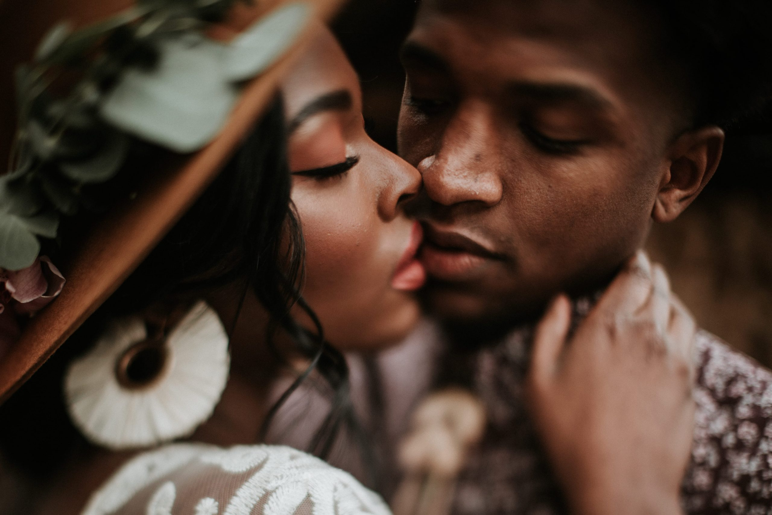 A man and woman kissing