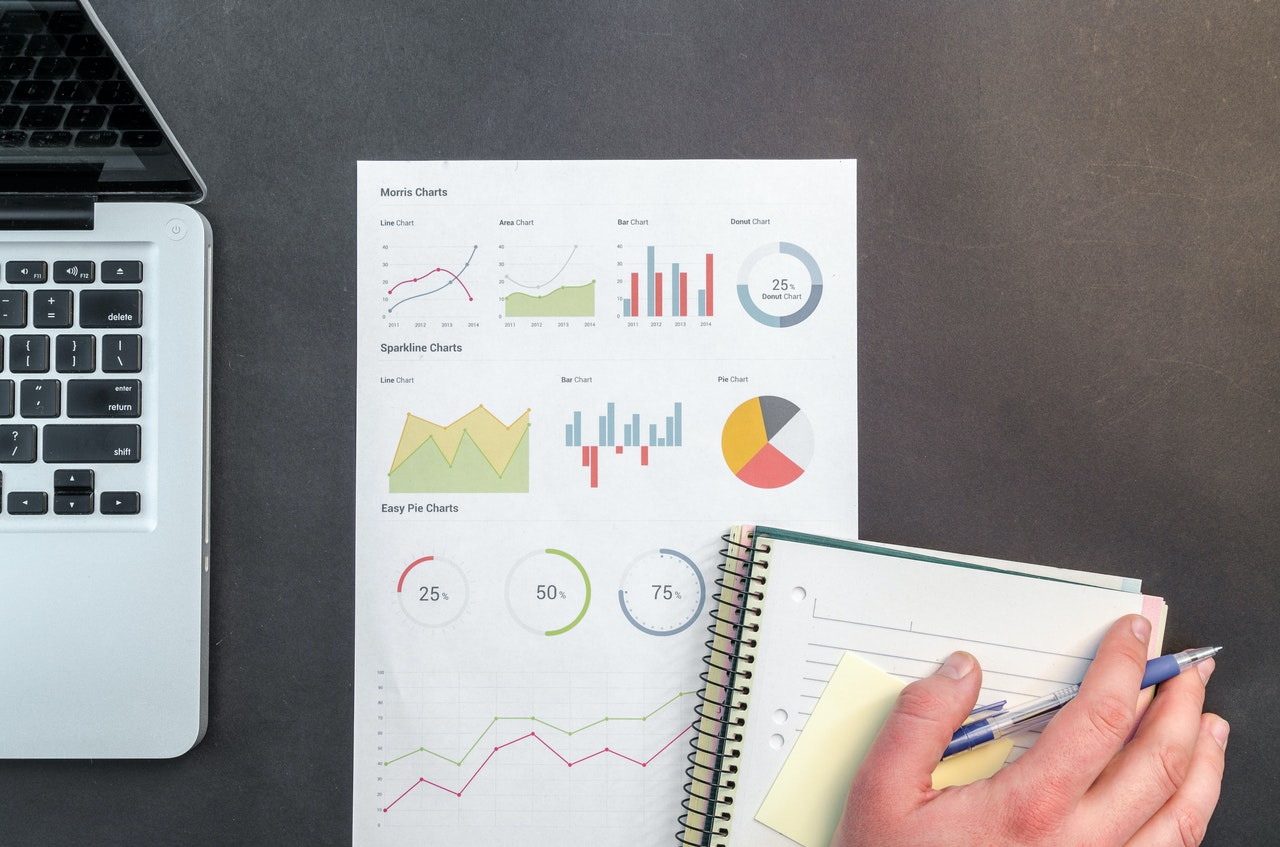 Paper, pen and an infographic of securities and investments information
