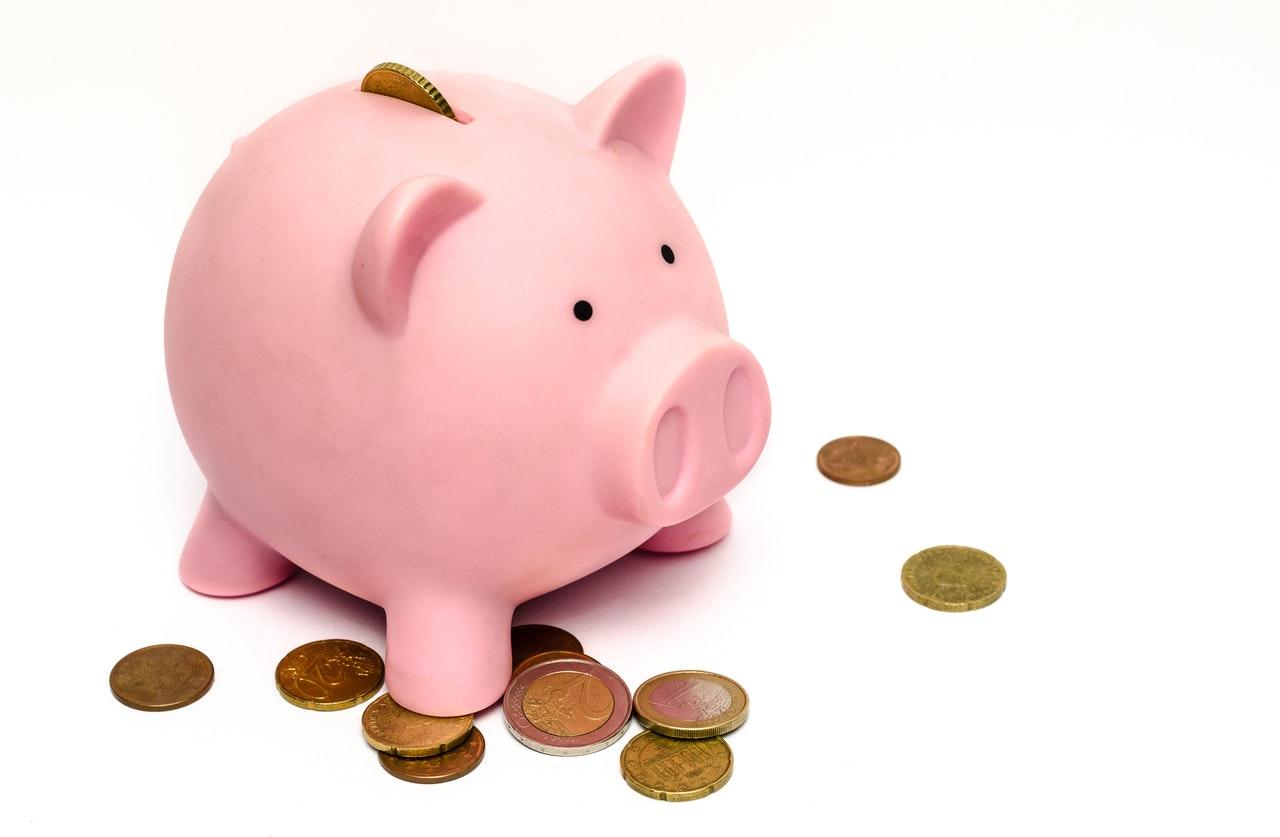 A pink piggy bank for saving